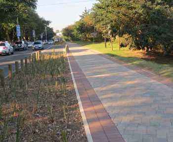 side walk area near a garden paved by sun paving